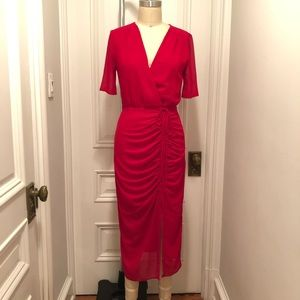 Gorgeous red vintage style ruched dress S